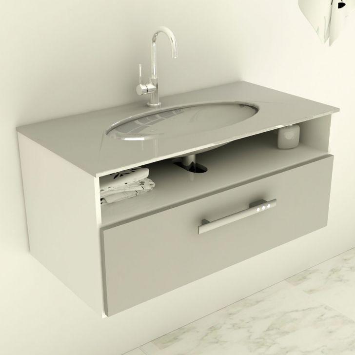 Gabinete 16 Com Pia De Vidro Linea 80 cm Cinza