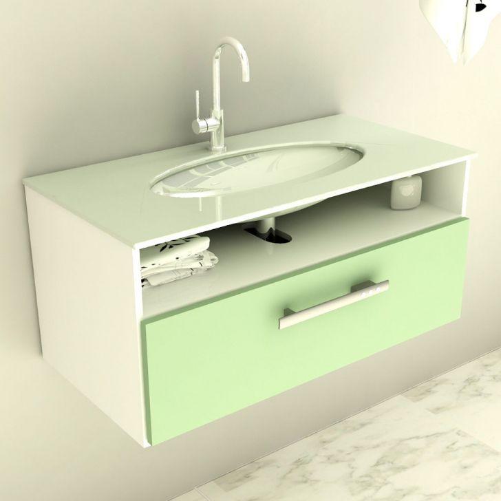 Gabinete 16 Com Pia De Vidro Linea 80 cm Verde