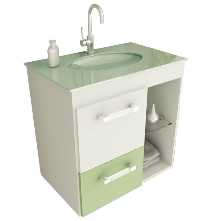 Foto 1 - Gabinete Linea 12 60 cm 1 Porta 1 Gaveta Branco & Verde