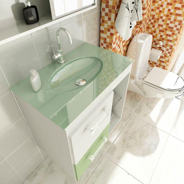 Foto 3 - Gabinete Linea 12 60 cm 1 Porta 1 Gaveta Branco & Verde