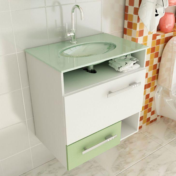 Foto 1 - Gabinete Linea 17 60 cm 1 Porta 1 Gaveta Branco & Verde Tomdo