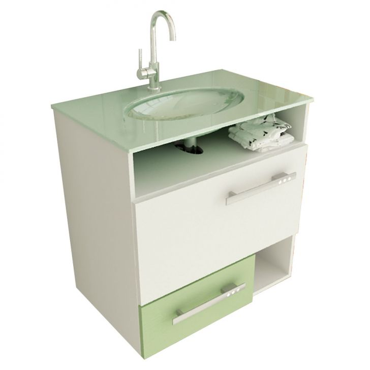 Foto 2 - Gabinete Linea 17 60 cm 1 Porta 1 Gaveta Branco & Verde Tomdo