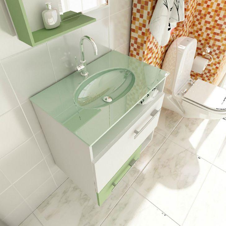 Foto 3 - Gabinete Linea 17 60 cm 1 Porta 1 Gaveta Branco & Verde Tomdo