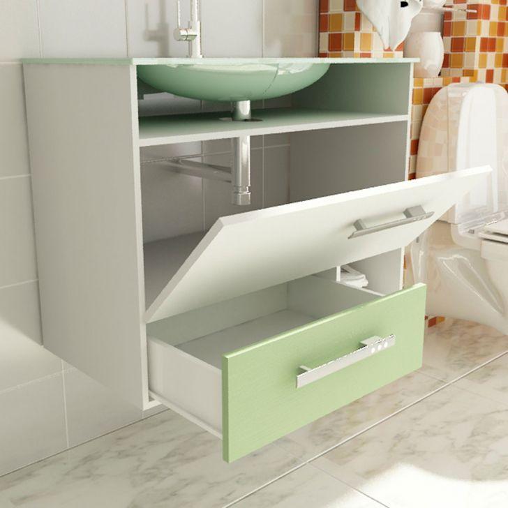Foto 4 - Gabinete Linea 17 60 cm 1 Porta 1 Gaveta Branco & Verde Tomdo