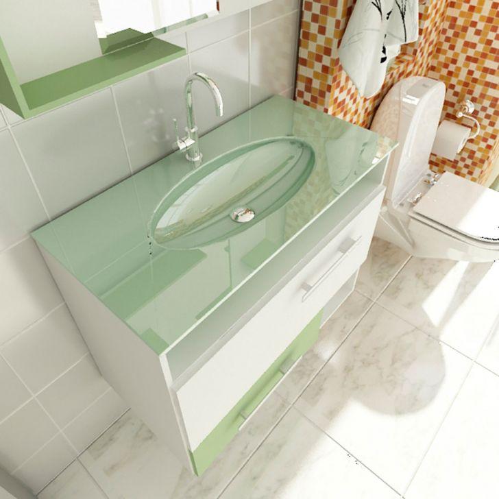 Foto 3 - Gabinete Linea 17 80 cm 1 Porta 1 Gaveta Branco & Verde
