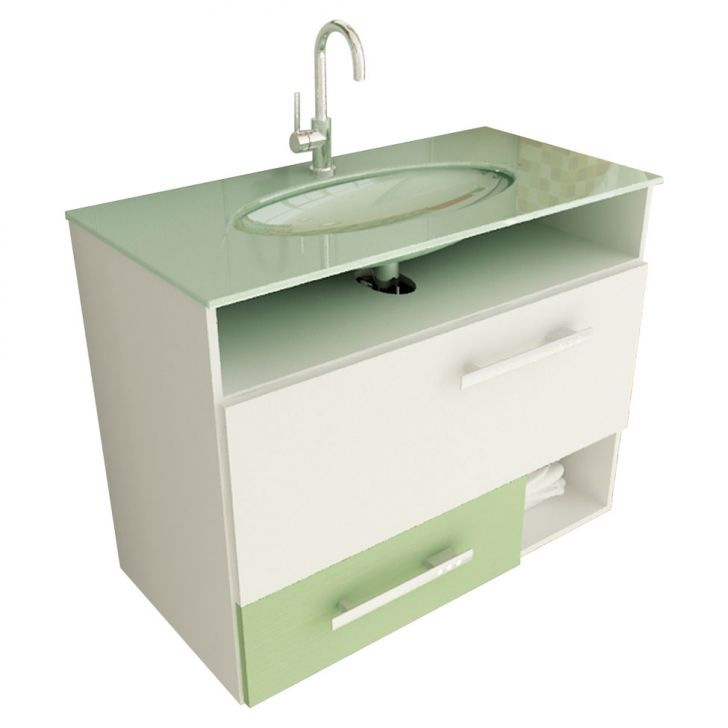 Foto 1 - Gabinete Linea 17 80 cm 1 Porta 1 Gaveta Branco & Verde
