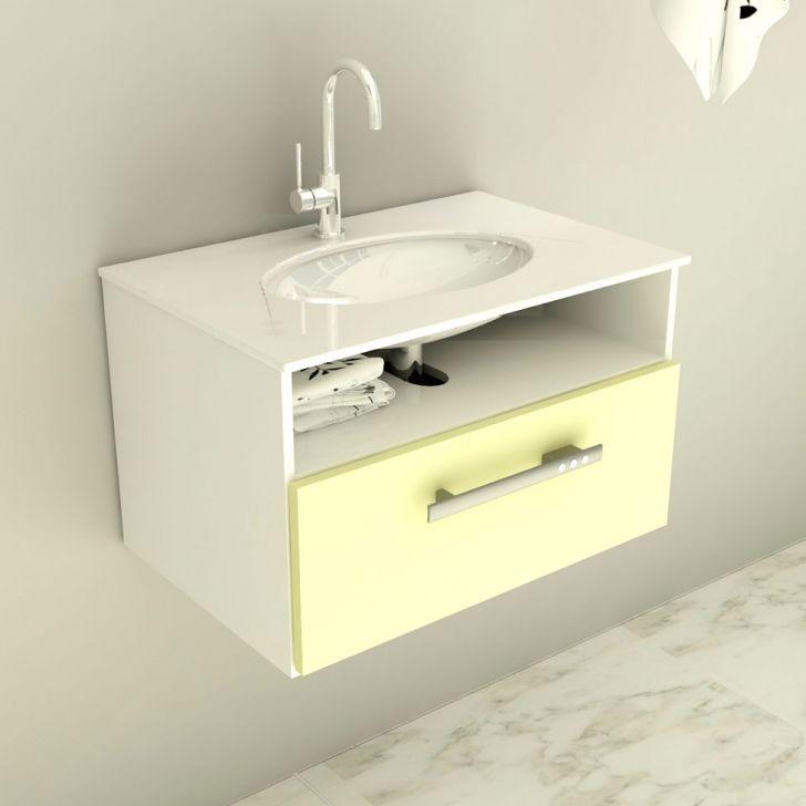 Foto 1 - Gabinete Mod com Pia de Vidro Linea 60 cm Bege