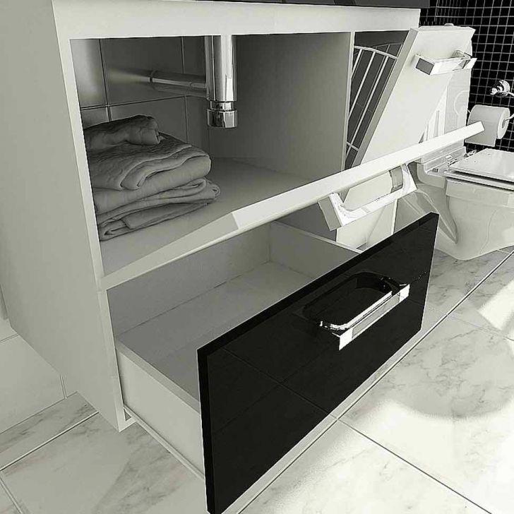 Foto 6 - Gabinete Vetro 80 cm 2 Portas 1 Gaveta Branco & Preto Tomdo