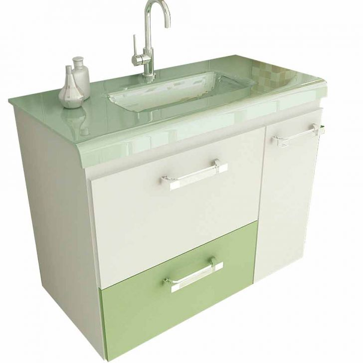 Foto 2 - Gabinete Vetro 80 cm 2 Portas 1 Gaveta Branco & Verde