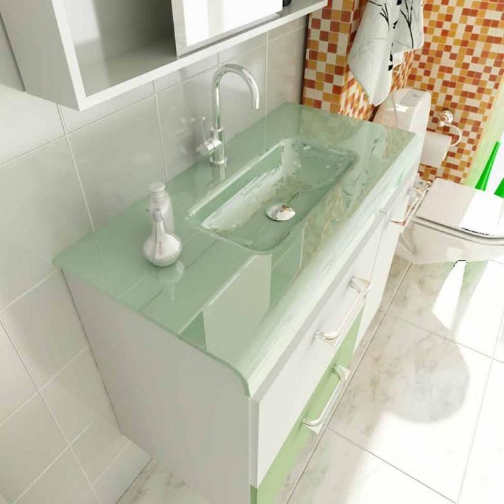 Foto 3 - Gabinete Vetro 80 cm 2 Portas 1 Gaveta Branco & Verde