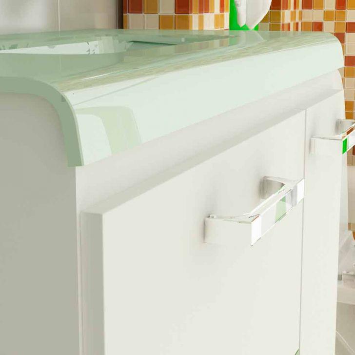 Foto 4 - Gabinete Vetro 80 cm 2 Portas 1 Gaveta Branco & Verde