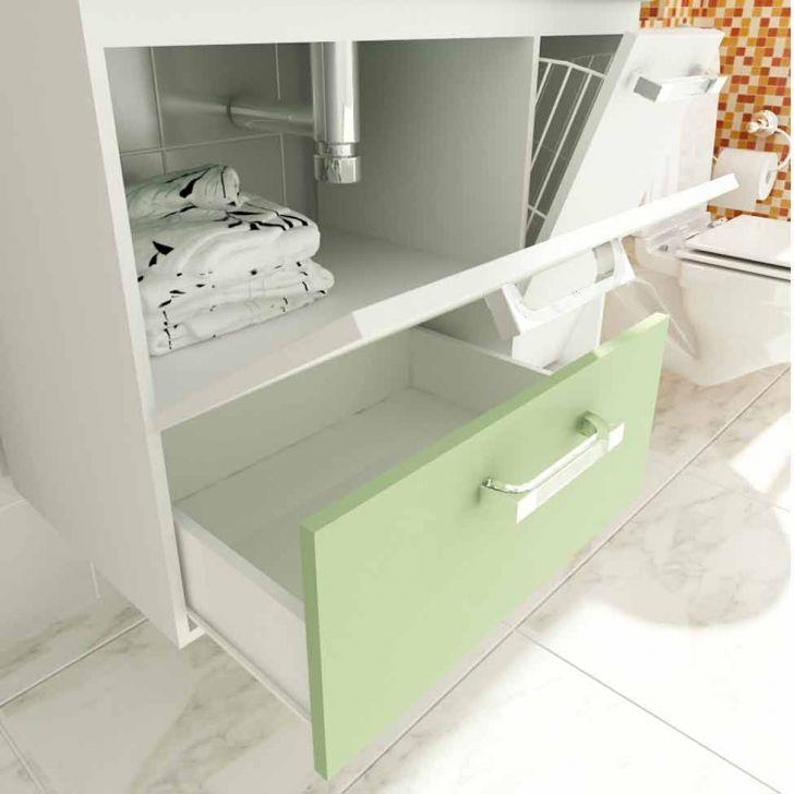 Foto 5 - Gabinete Vetro 80 cm 2 Portas 1 Gaveta Branco & Verde