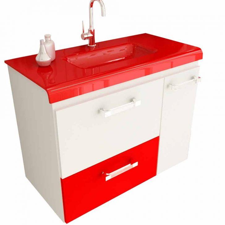 Foto 1 - Gabinete Vetro 80 cm 2 Portas 1 Gaveta Branco & Vermelho