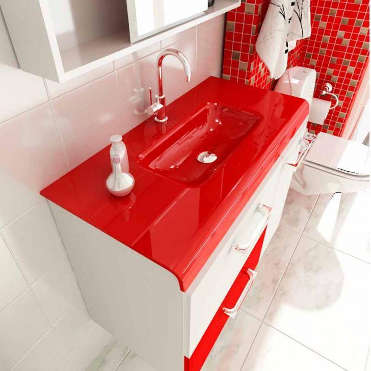 Foto 2 - Gabinete Vetro 80 cm 2 Portas 1 Gaveta Branco & Vermelho