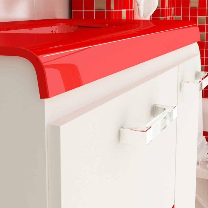 Foto 3 - Gabinete Vetro 80 cm 2 Portas 1 Gaveta Branco & Vermelho