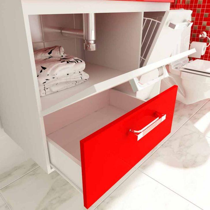 Foto 4 - Gabinete Vetro 80 cm 2 Portas 1 Gaveta Branco & Vermelho