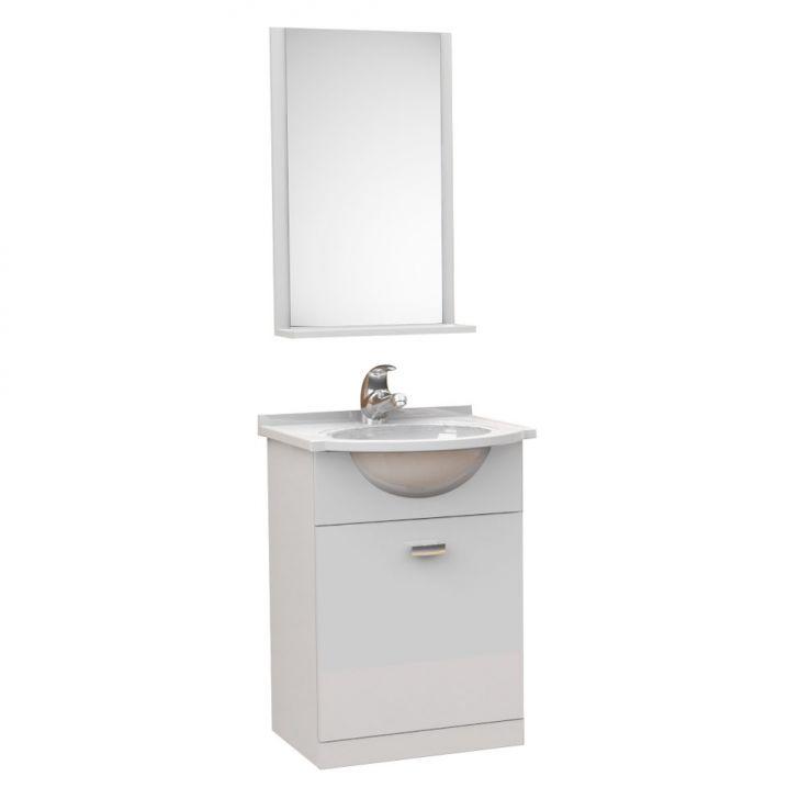 Kit De Banheiro 3 Peças Pratico Com Pia De Mármore 40 cm Branco