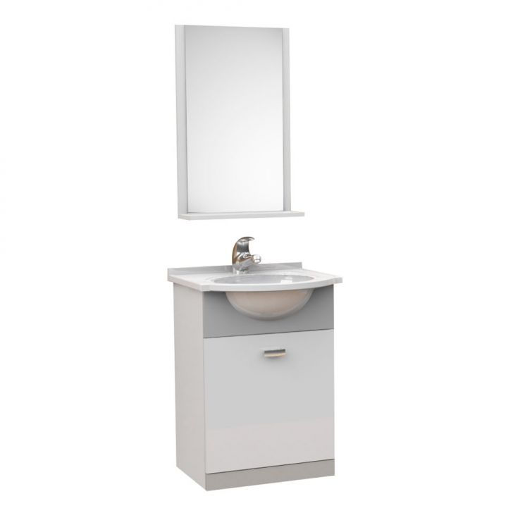 Kit De Banheiro 3 Peças Pratico Com Pia De Mármore 40 cm Cinza