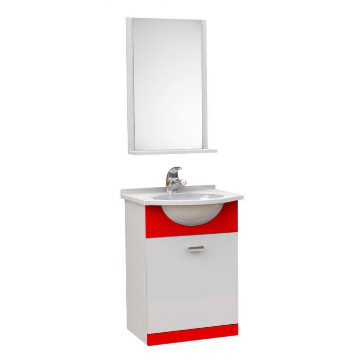 Kit De Banheiro 3 Peças Pratico Com Pia De Mármore 40 cm Vermelho