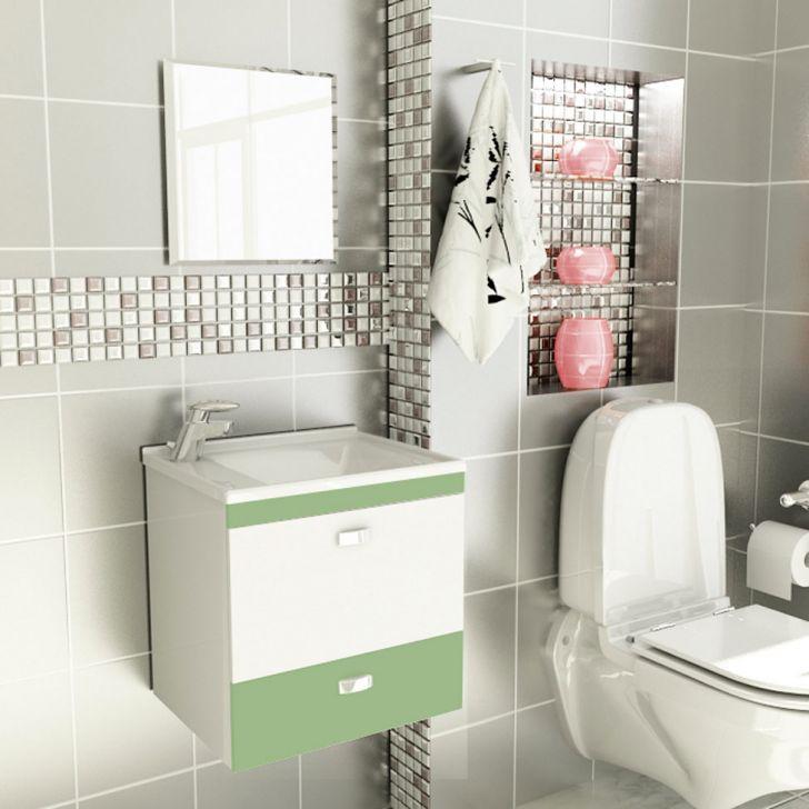 Foto 1 - Kit De Banheiro 3 Peças Stylus Com Pia De Mármore 50 cm Verde