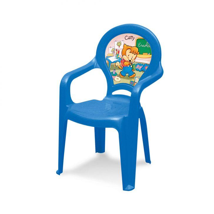 Cadeira Plástica Infantil Catty com filme azul