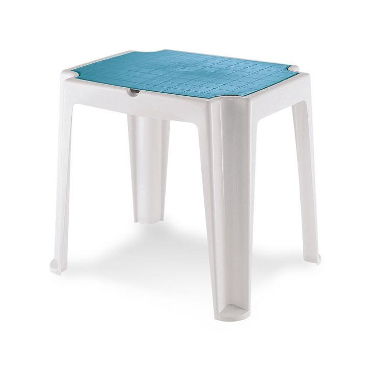 Mesa infantil Versa com tampa branca e azul
