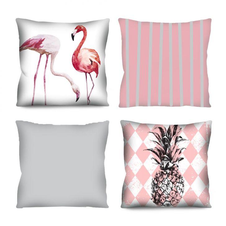 Kit com 4 Almofadas Flamingos Rosa 42x42 cm
