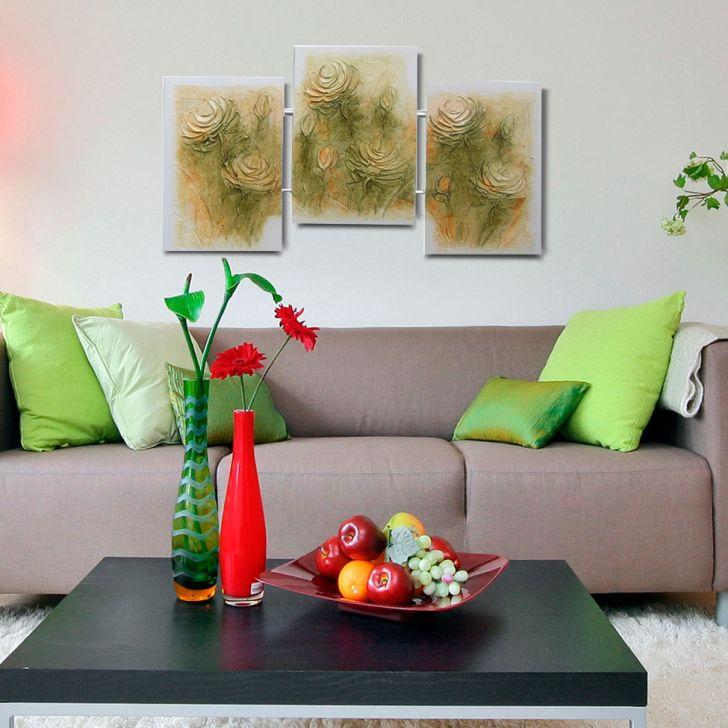 24aec72e2 Quadro Artesanal com Textura Rosas Colorido Uniart