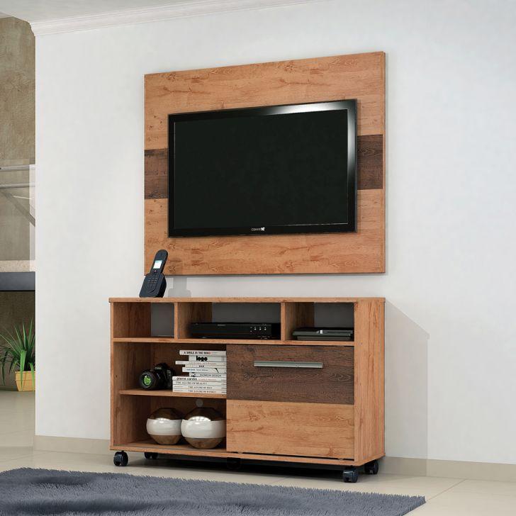 Rack com Painel para TV 55 Polegadas Fusion Terracota e Castanho 108 cm
