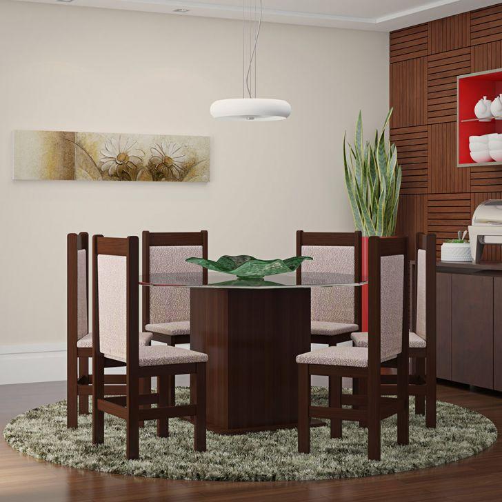 Conjunto de Mesa e Cadeira de Jantar Vidro Oitavada Tabaco Bege Liso Claro