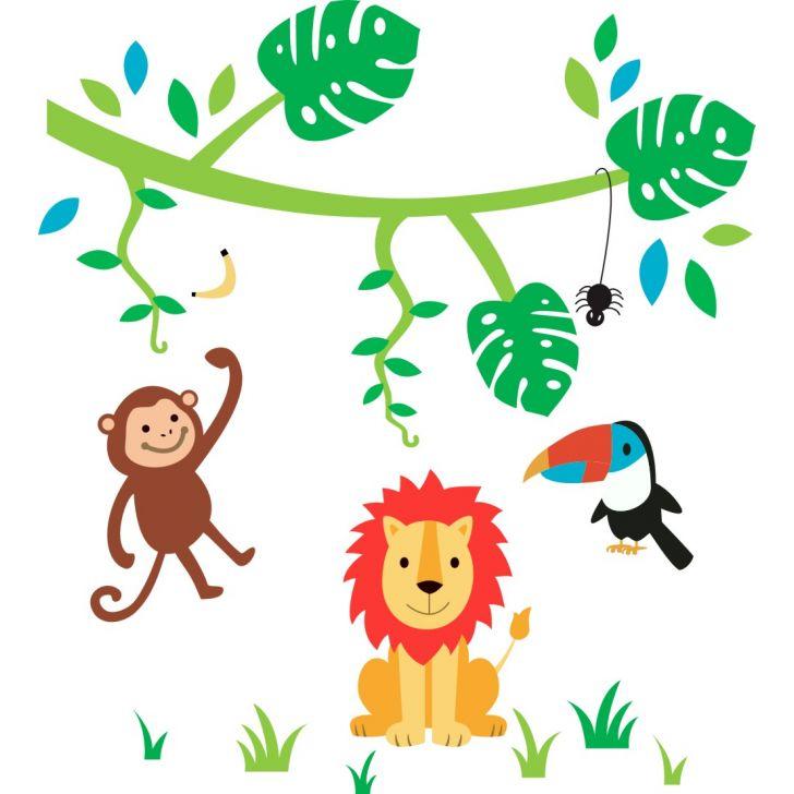 Adesivo De Parede Infantil X4 Adesivos Safari Floresta Colorido