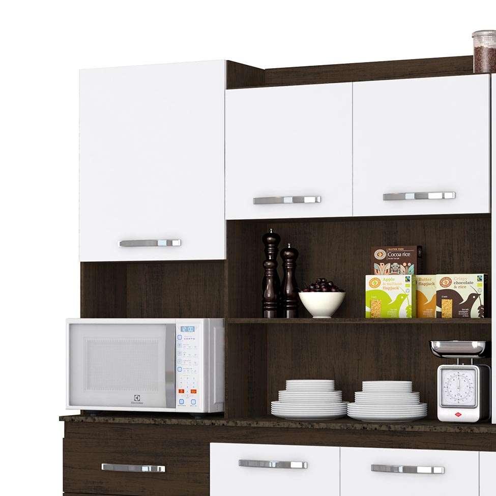 72d8d50c61b Cozinha Compacta Mirela 7 PT 3 GV Ravello e Branco