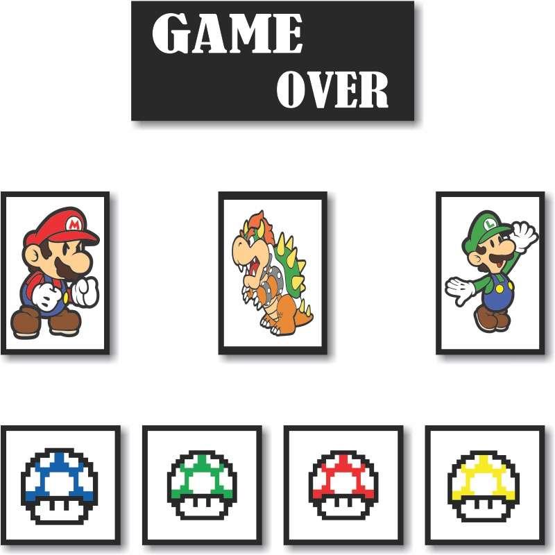 cc12aa861 Quadros Decorativos Super Mario 8 peças
