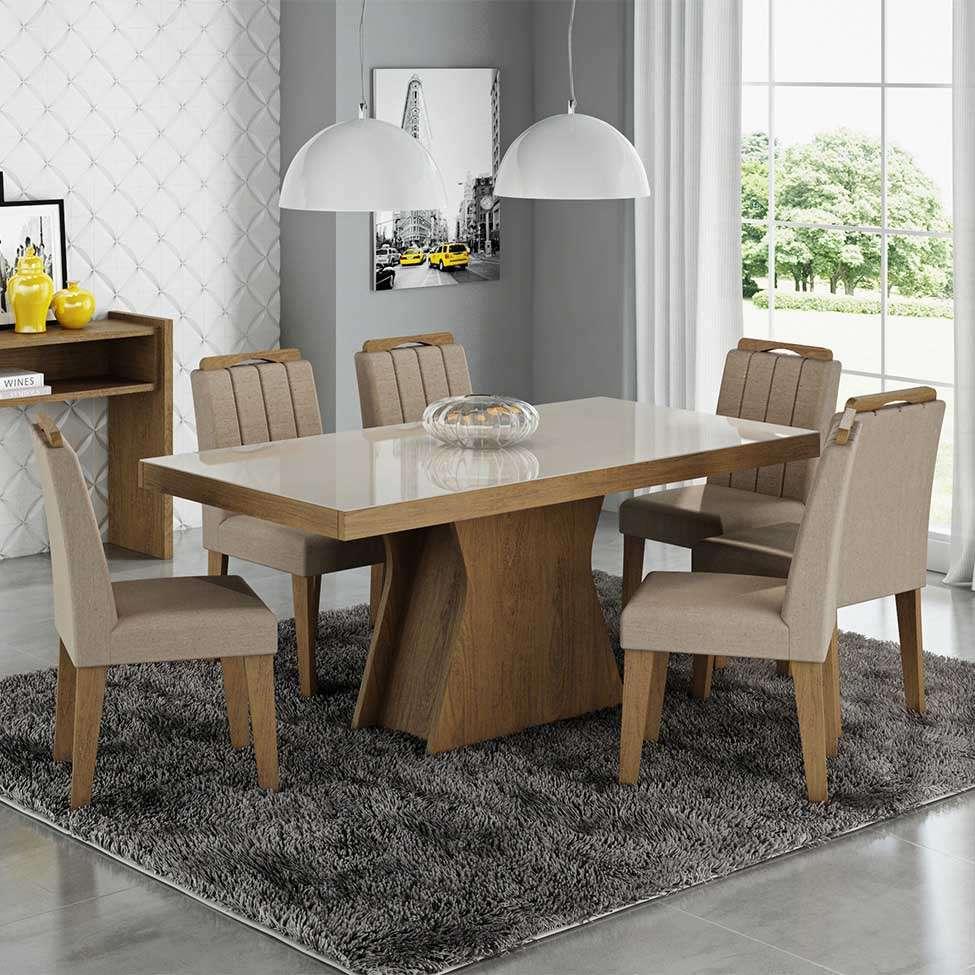 74593137c Conjunto de Mesa Olivia com 6 Cadeiras Elisa Savana Cabela e Off White