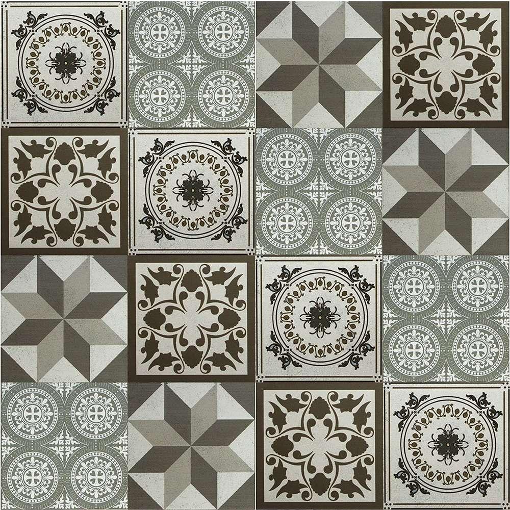 b5a97a470 Adesivo para Azulejo Ladrilho Hidráulico Mosaico 15x15cm 16 peças - Tons de  Cinza