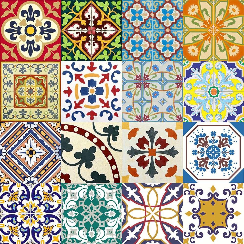 Adesivo para azulejo portugu s mosaico 15x15cm 16 pe as for Mosaico adesivo 3d