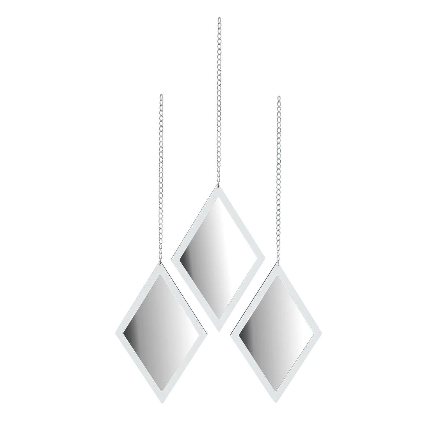 Trio de Espelho de Parede Losango Branco Com Correntes 9a6980afaf