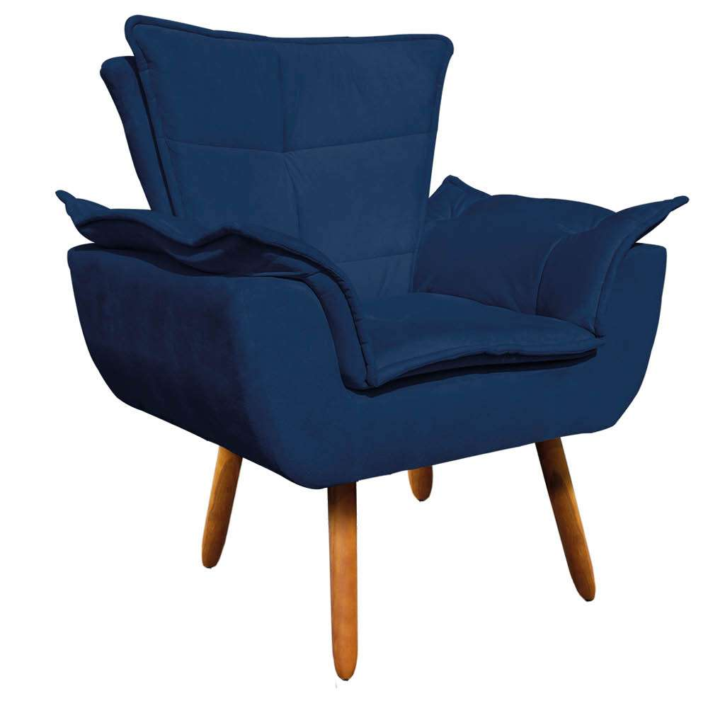 e00f52b72 Poltrona Decorativa Opala Suede Azul Marinho - D'Rossi