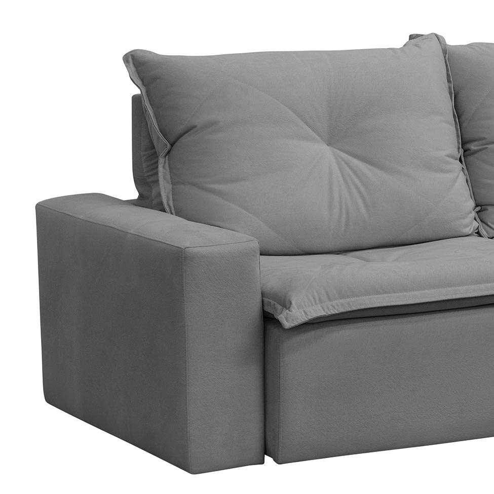 Sofá Retrátil e Reclinável 3 Lugares Scarlet Cinza 250 cm