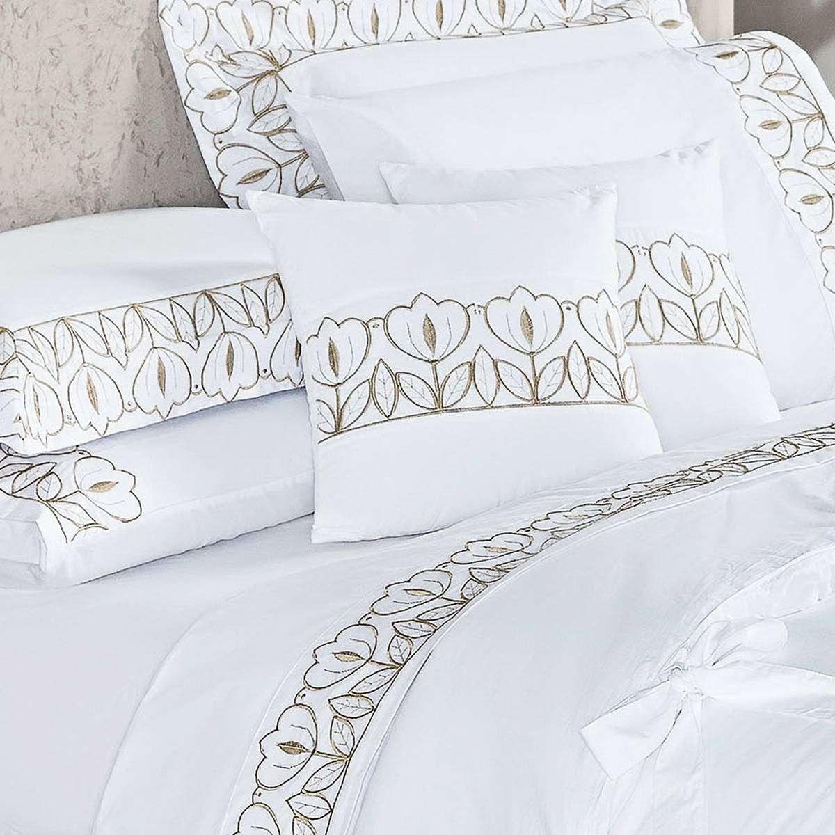 91a14b3fc3 Kit Edredom Casal Queen Bege Com Branco Almofada Decorativa 8 Peças