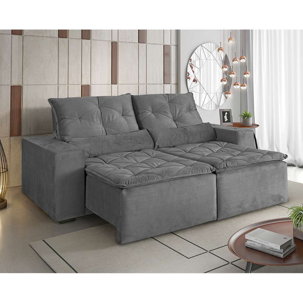 Sofá 3 Lugares Retrátil e Reclinável Macaé Veludo Soft Cinza