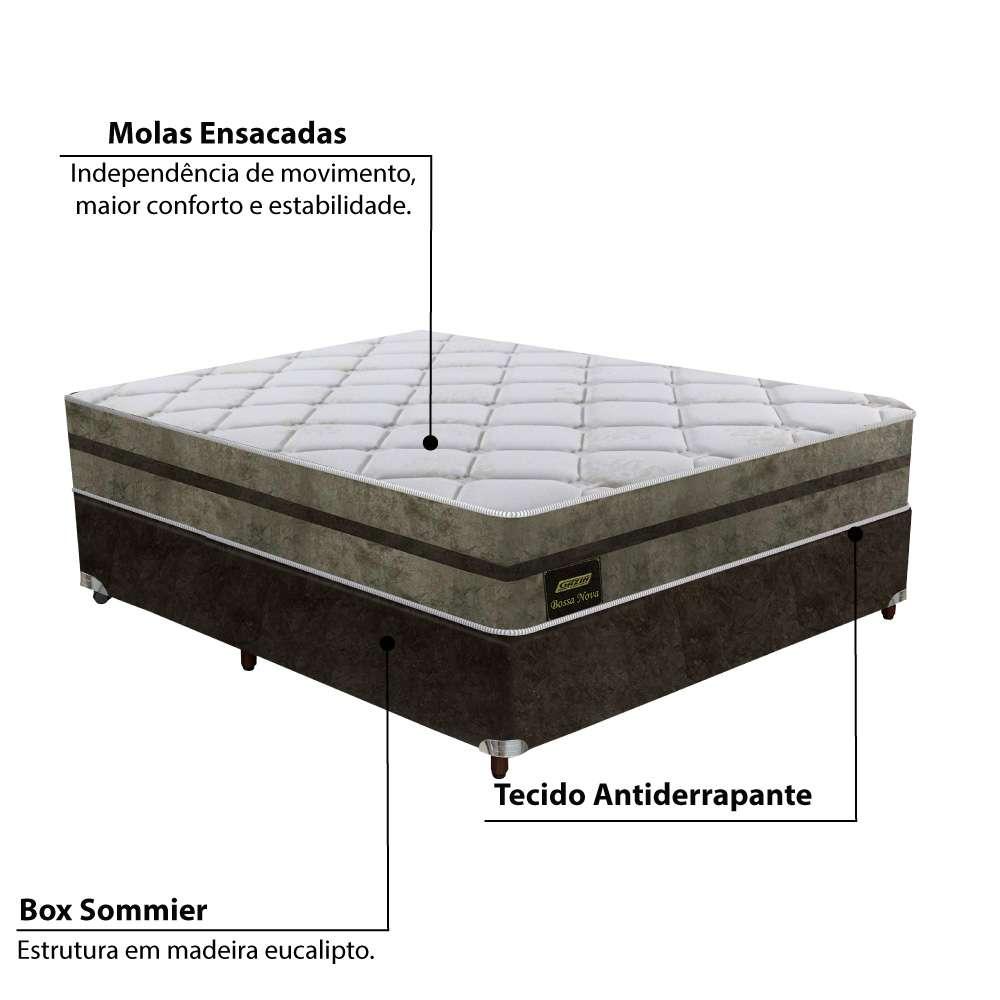 648ce91d3 Cama Box Casal Bossa Nova Molas Ensacadas Europillow Gazin - 138X188x69