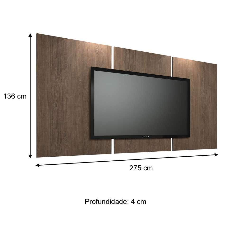 painel para tv 60 polegadas elite carvalho vora 275 cm. Black Bedroom Furniture Sets. Home Design Ideas