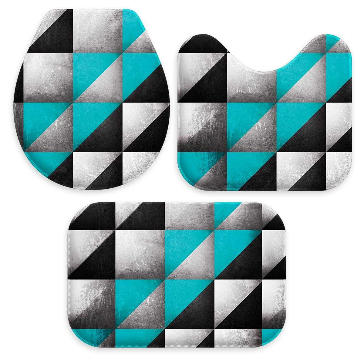 5ff90ae16 Kit 3 Tapetes Decorativos para Banheiro Geometrico