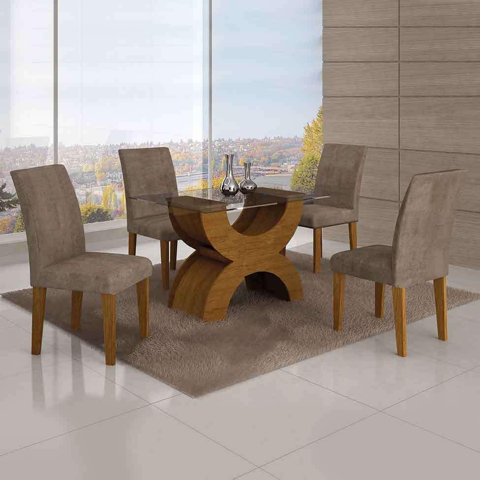 76d19d59cb3 Conjunto de Mesa com 4 Cadeiras Olímpia Suede Amassado Imbuia Mel e  Capuccino