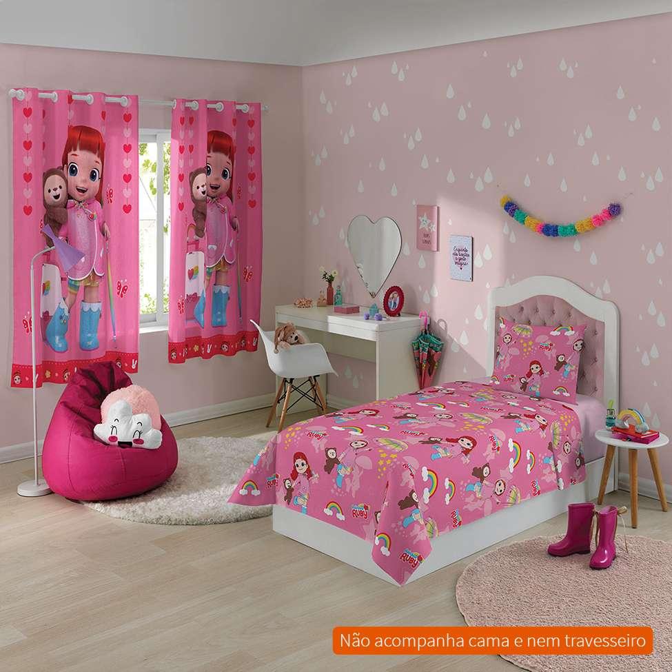 4c30f9d8be Jogo de Cama Infantil com 2 Peças Rainbow Ruby I Algodão Rosa