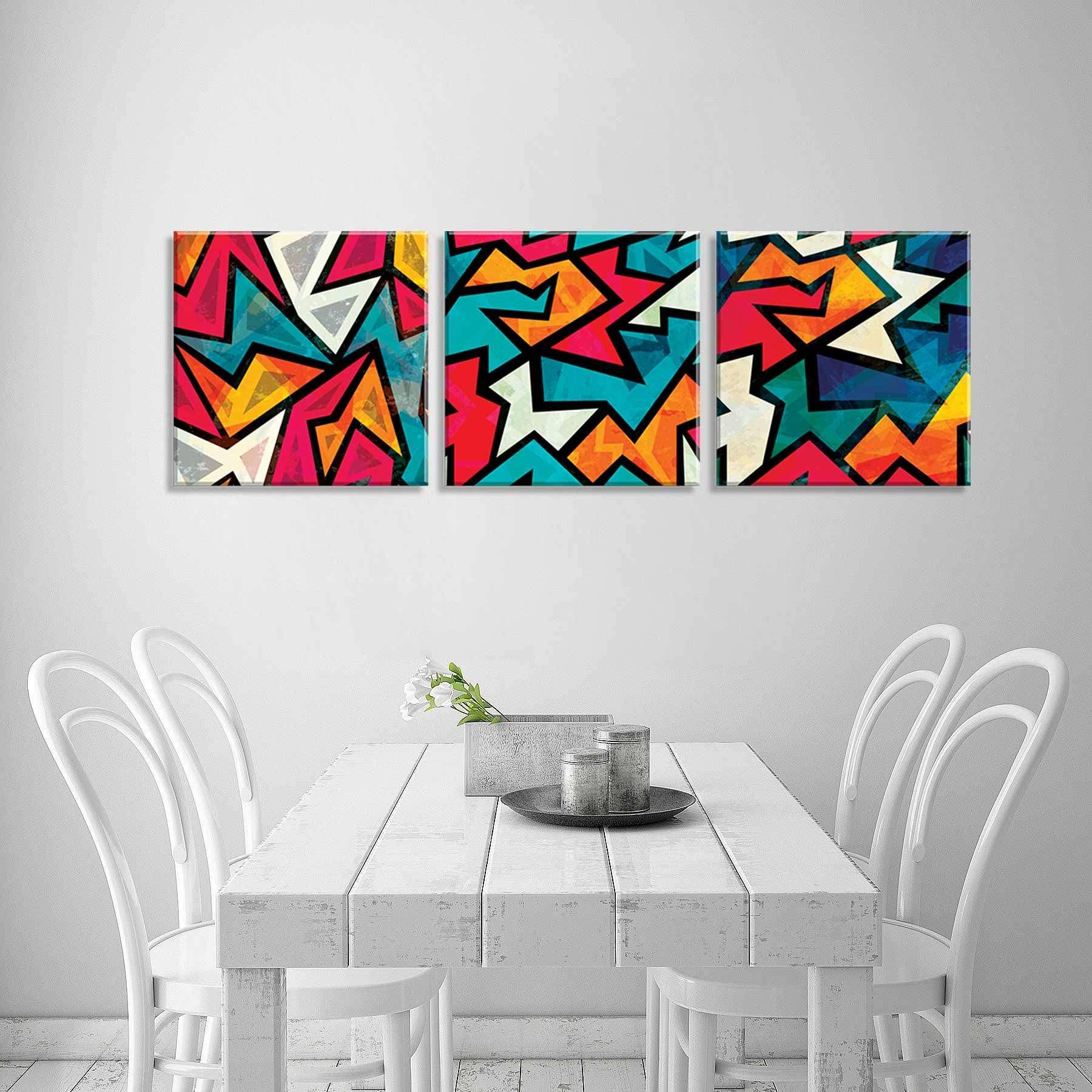 02e04a50b Conjunto de 3 Telas Decorativas em Canvas Abstrato 40x40