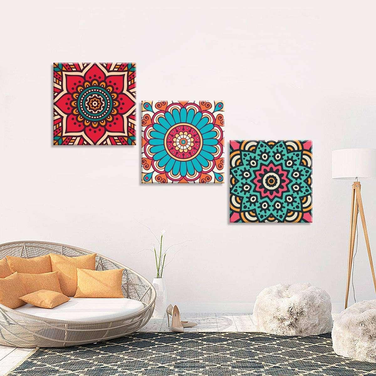 3a766d03b Conjunto de 3 Telas Decorativas em Canvas Mandalas 40x40