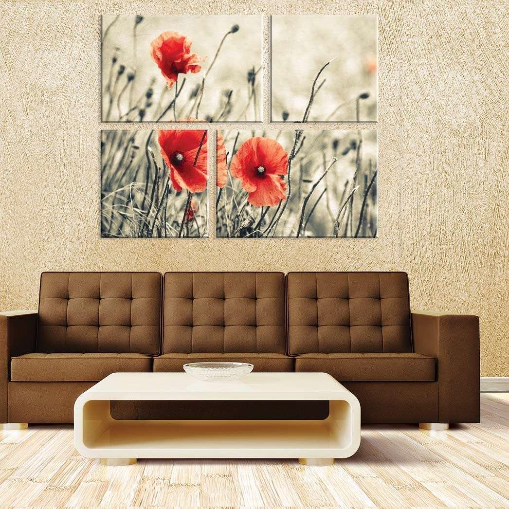 ee91f246f Conjunto de 4 Telas Decorativas em Canvas Flores
