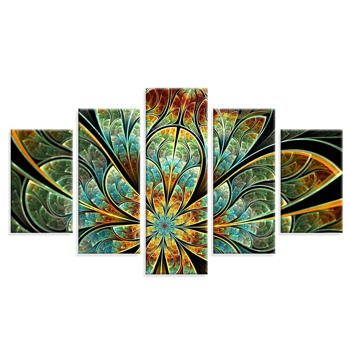 f31e2d946 Conjunto de 5 Telas Decorativas em Canvas Abstrato Flor Verde 90 x160
